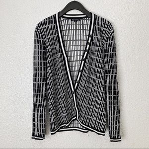 Brooks Brothers Navy and White Checkered Cardigan